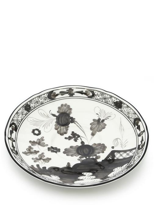 Doccia Siyah Beyaz Çiçekli Porselen Tabak