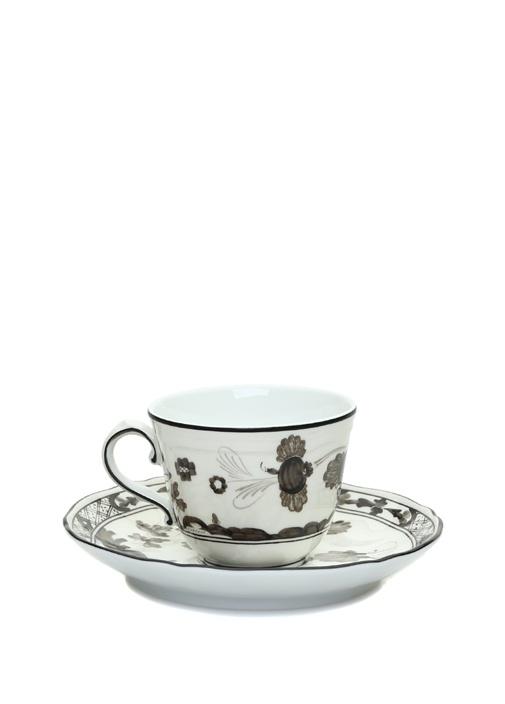 Doccia Siyah Beyaz Çiçekli Porselen Kahve Fincanı