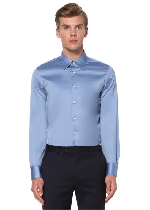 Custom Fit Mavi Klasik Yaka Saten Gömlek