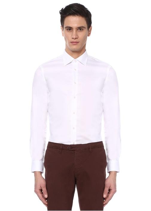 Custom Fit Beyaz İngiliz Yaka Dokulu Gömlek