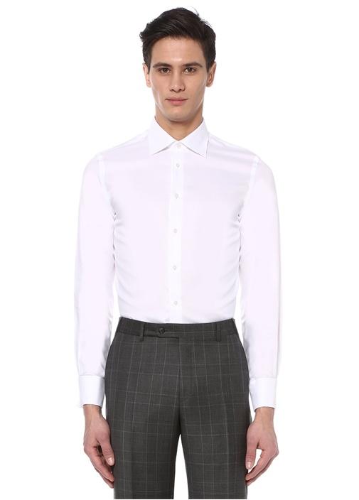 Beyaz Standart Fit Oxford Gömlek