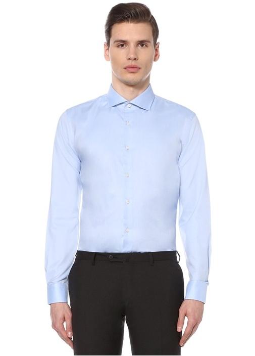 Custom Fit Mavi Açık Yaka Oxford Gömlek