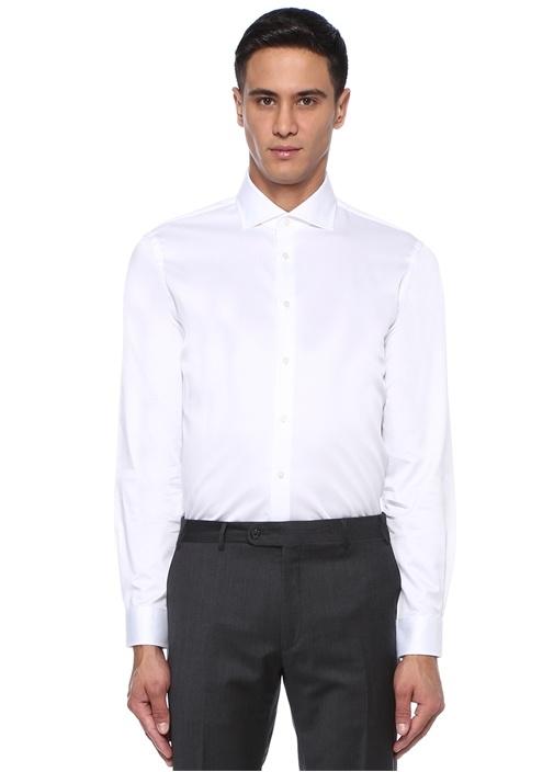 Custom Fit Beyaz İngiliz Yaka Klasik Gömlek