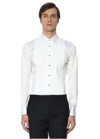 Custom Fit Beyaz Ata Yaka Smokin Gömleği