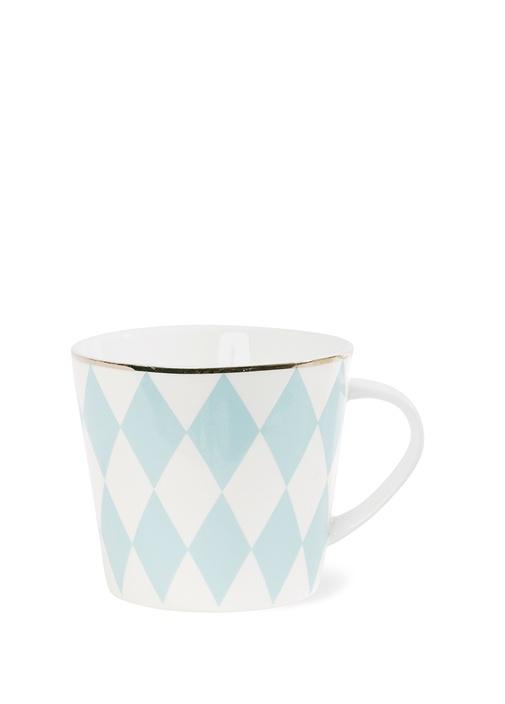 Mavi Beyaz Baklava Desenli Seramik Kupa