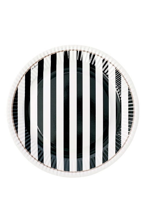 8li Siyah Beyaz Çizgili Kağıt Tabak Seti