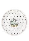 8li Siyah Puantiyeli Kek Baskılı Tabak Seti