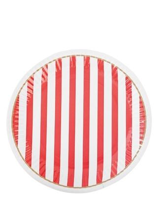 Miss Etoile 8li Kırmızı Beyaz Çizgili Tabak Seti Ürün Resmi