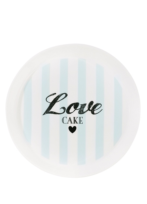 Mavi Love Cake Baskılı Çizgili Seramik Tabak