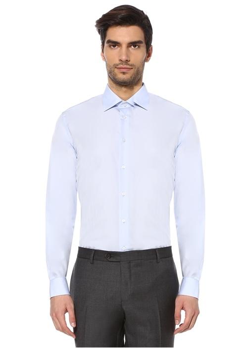 Custom Fit Mavi Modern Yaka Poplin Gömlek