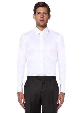 Beymen Bes Erkek Custom Fit Beyaz Modern Yaka Oxford Gömlek 42 IT male
