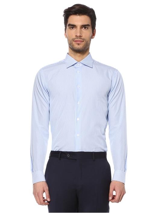 Custom Fit Beyaz Mavi Modern Yaka Çizgili Gömlek