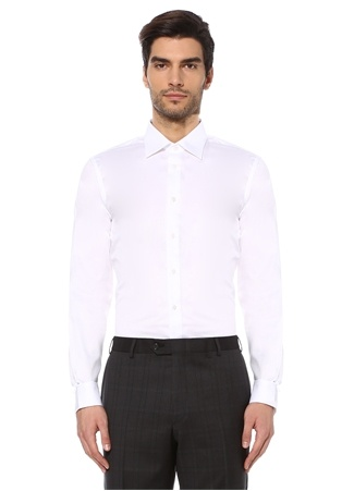 Beymen Bes Erkek Custom Fit Beyaz Modern Yaka İnce Çizgili Gömlek 42 IT male