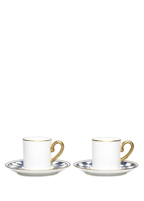 Kare Desen 2'li Porselen Antrasit Kahve Fincani