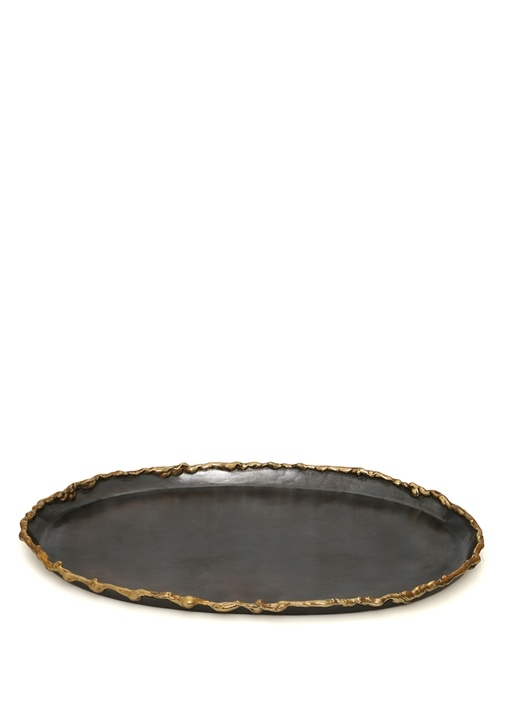 Antrasit Kenarları Gold İşlemeli Oval Formlu Tepsi
