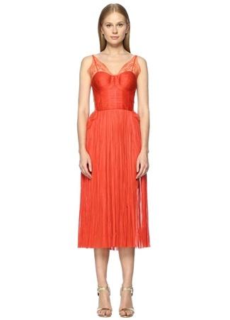 Derin Yırtmaçlı Kırmızı Midi Abiye İpek Elbise MARIA LUCIA HOHAN