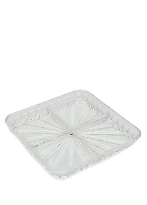 Şeffaf 4 Bölmeli Kristal Servis Tabağı