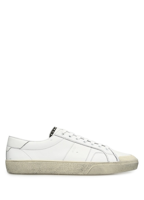 Saint Laurent Kırık Beyaz ERKEK  Signature Coat SL/37 Beyaz Deri Erkek Sneaker 211659 Beymen