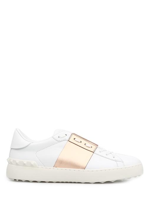Valentino Beyaz-Altin KADIN  Valentino Garavani Beyaz Bronz Open Kadin Sneaker 212637 Beymen