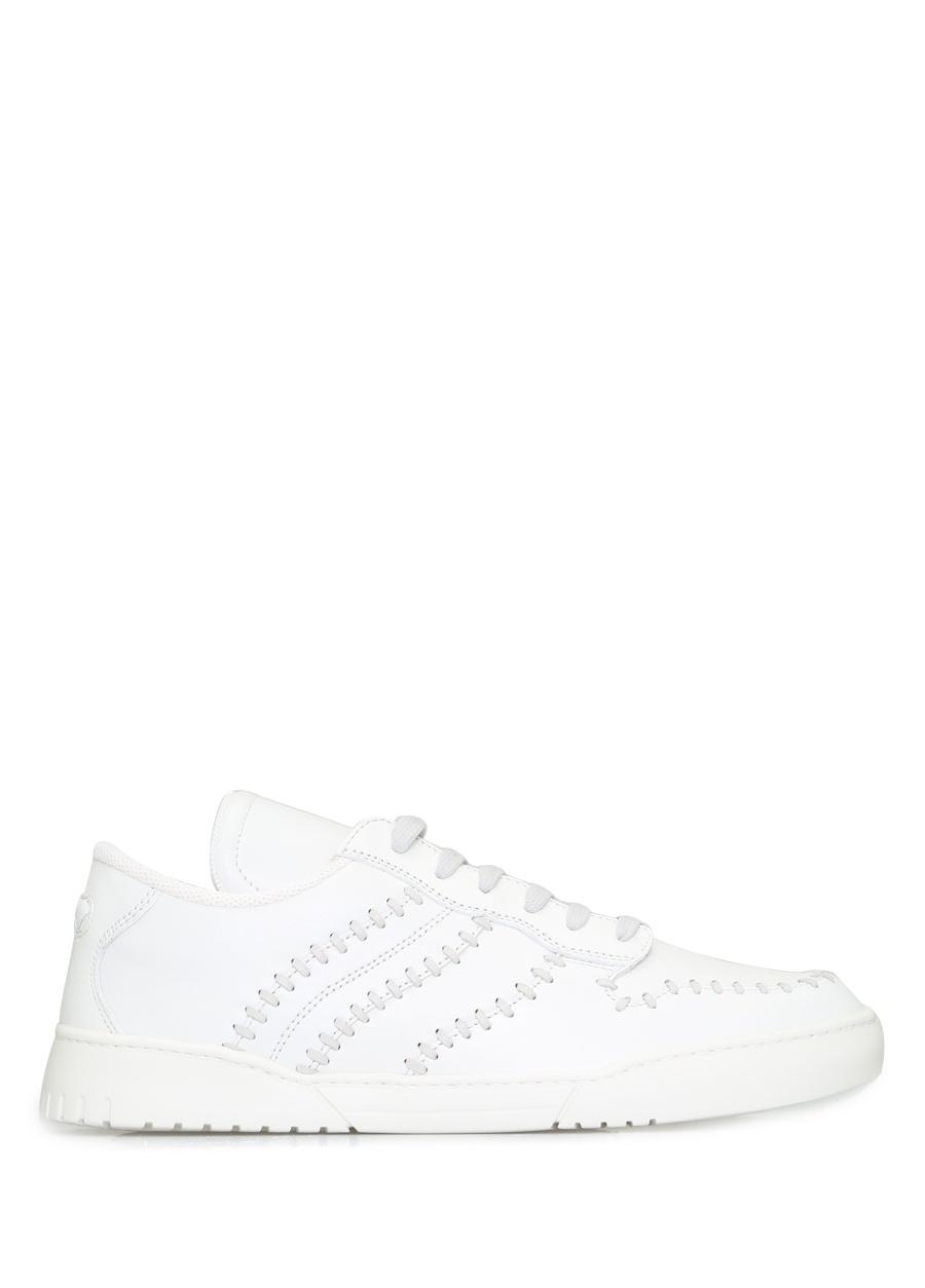 Bottega Veneta Beyaz ERKEK  Beyaz Dikiş Detaylı Erkek Deri Sneaker 226922 Beymen