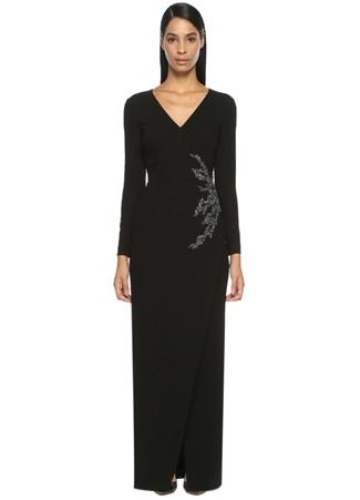 Taş İşlemeli Siyah Maksi Elbise DAVID MEISTER