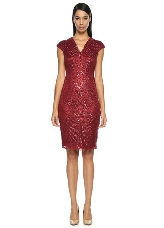 İşlemeli Kırmızı Mini Kokteyl Elbise DAVID MEISTER