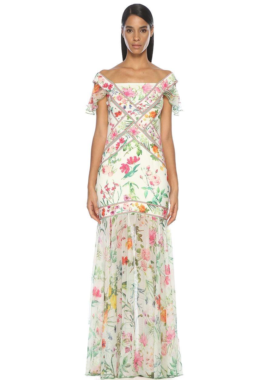 Tadashi Shoji Kayık Yaka Çiçek Desen Beyaz Maksi Elbise
