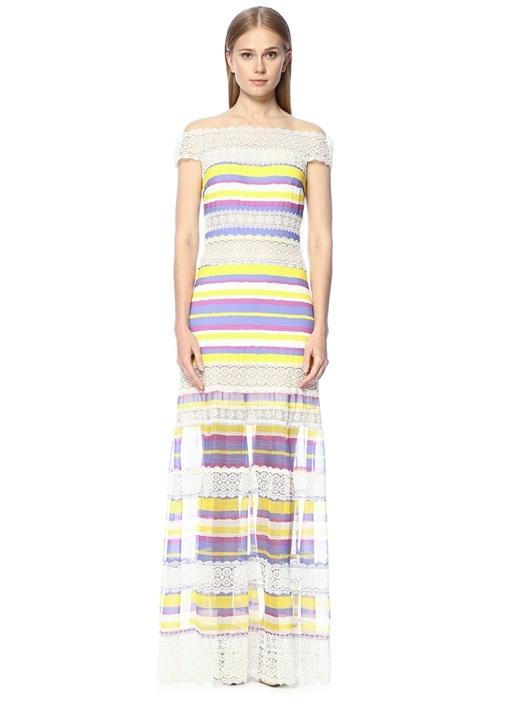 Dantelli Çizgili Çok Renkli Maksi Elbise