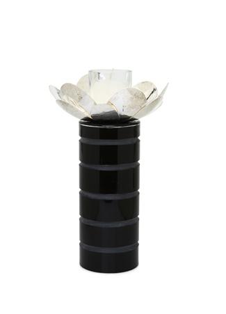 Gümüş Rengi Manolya Çiçek+Cam Şamdan Siyah