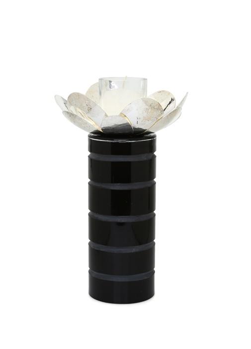 Gümüş Manolya Çiçek+Cam Şamdan
