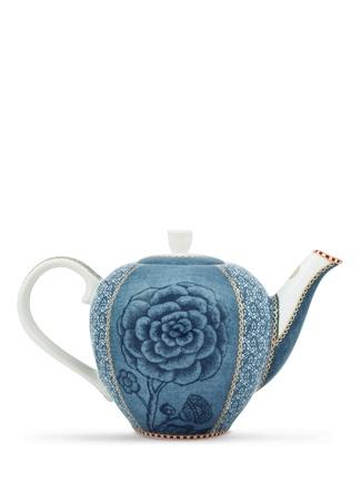 Spring To Life Mavi Çiçek Baskılı Porselen Demlik