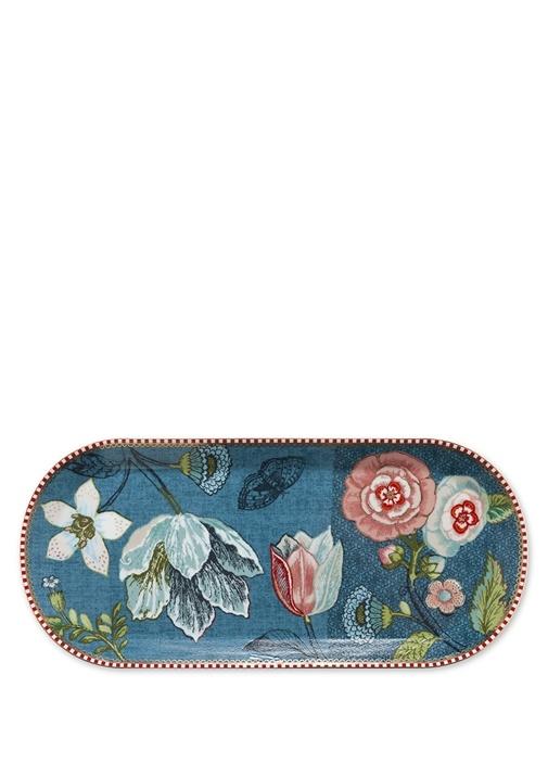 Spring To Life Mavi Oval Kek Servis Tabağı