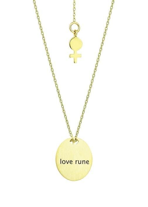 Love Rune Gold Madalyon Detaylı Kadın Altın Kolye