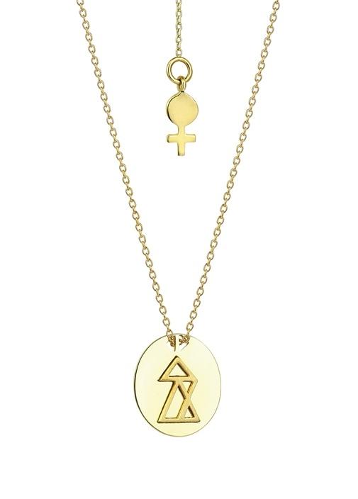 Başarı Gold Madalyon Detaylı Kadın Altın Kolye
