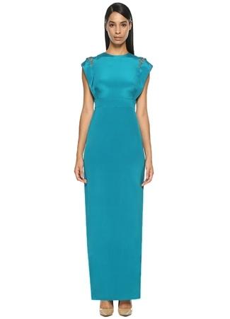 Mavi Maksi İpek Elbise THEIA