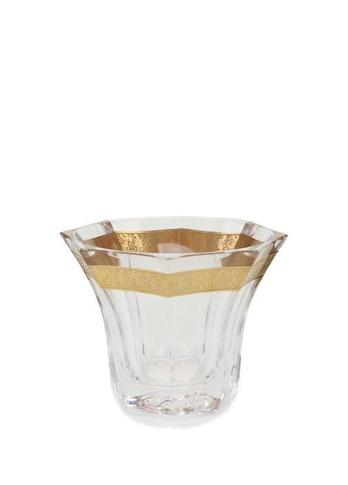 Gold Şerit Detaylı Kristal Vazo