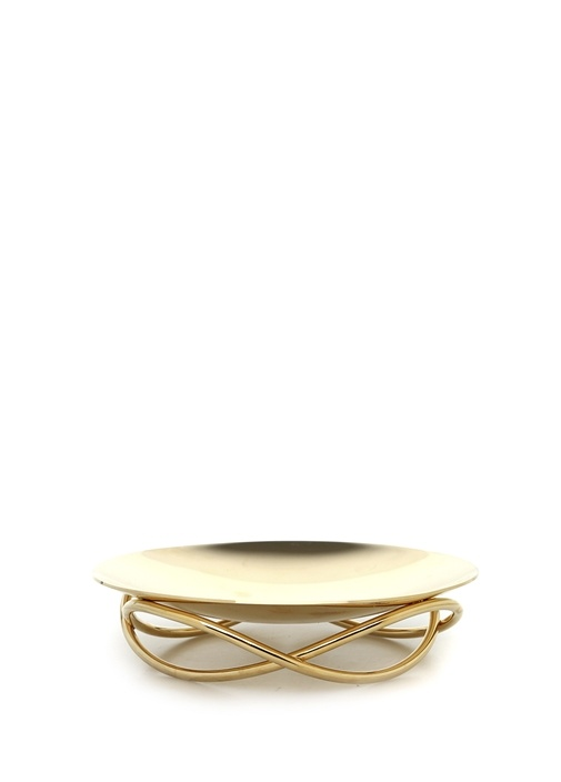 Glow Dish Medium Gold Dekoratif Tabak