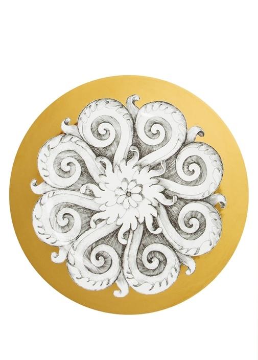 Rosone No 1 Siyah Beyaz Porselen Tabak