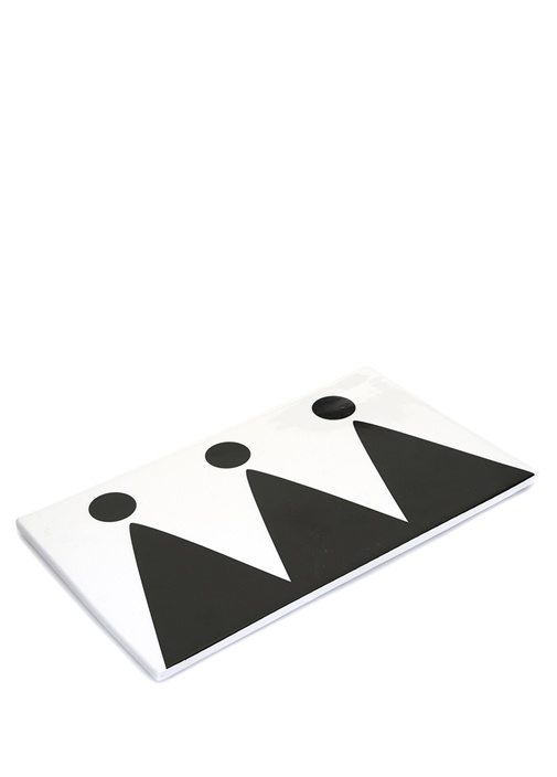 Siyah Beyaz Dikdörtgen Seramik Servis Tabağı