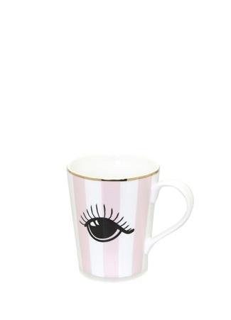 Miss Etoile Pembe Beyaz Çizgili Göz Baskılı SeramikKupa Ürün Resmi