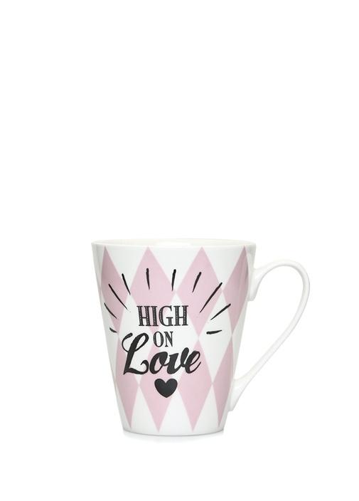 High On Love Pembe Geometrik Desenli Porselen Kupa