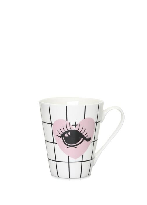 Beyaz Kalpli Göz Baskılı Porselen Kupa