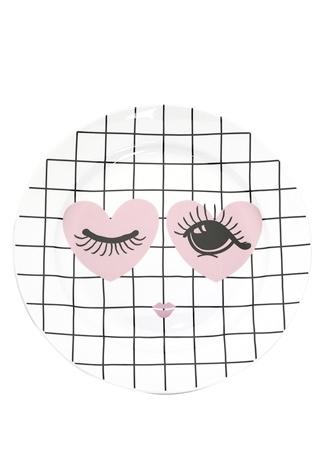 Miss Etoile Kalpli Göz Baskılı Kareli Porselen Dekoratif Tabak Siyah Ürün Resmi