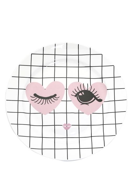 Kalpli Göz Baskılı Kareli Porselen Dekoratif Tabak