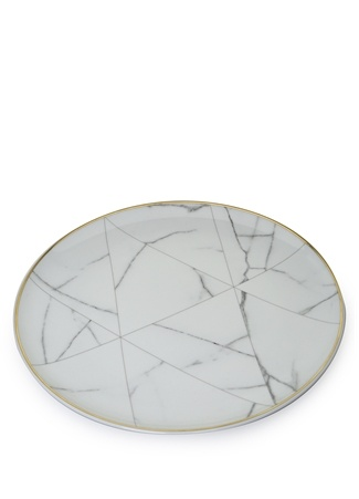 Carrara Beyaz Mermer Görünümlü PorselenTabak