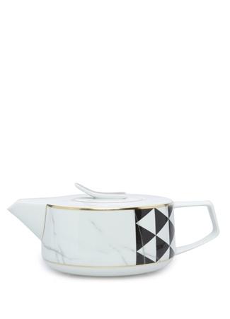 Carrara Siyah Beyaz Çay Demliği