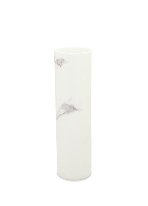 Carrara Beyaz Desen Detaylı Porselen Vazo