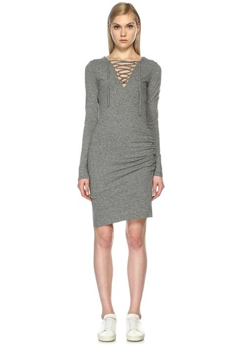 Yakası Bağcıklı Gri Mini Elbise