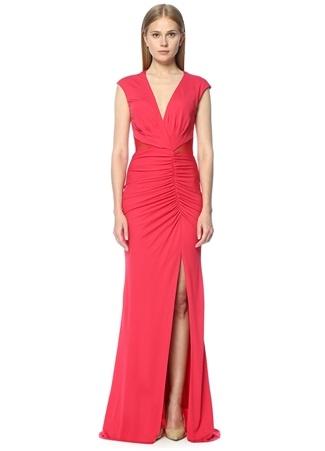 Derin Yırtmaçlı Kırmızı Maksi Abiye Elbise ABS