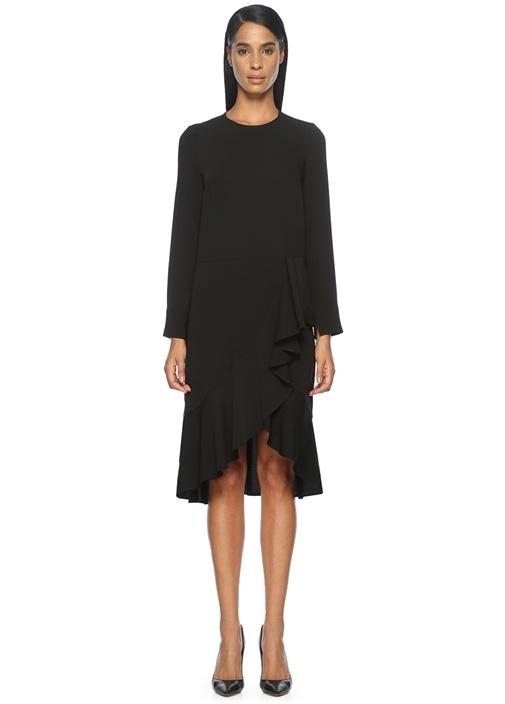 Volan Detaylı Siyah Midi Elbise